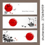 set of banners hand drawn in... | Shutterstock .eps vector #273696959