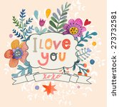 sweetly pretty i love you card... | Shutterstock .eps vector #273732581