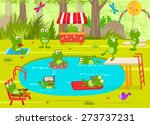 frogs pool party   cute frogs... | Shutterstock .eps vector #273737231