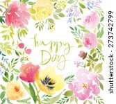 watercolor greeting card... | Shutterstock .eps vector #273742799