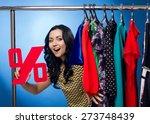 happy woman holding percent... | Shutterstock . vector #273748439