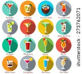 Alcohol drinks and cocktails icon set in flat design style. Vector illustration. | Shutterstock vector #273762071