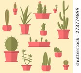 succulents set. flat design.   Shutterstock .eps vector #273774899