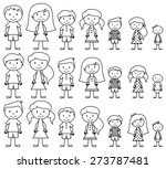 set of cute and diverse stick... | Shutterstock .eps vector #273787481