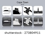 Landmarks Of Cape Town. Set Of...