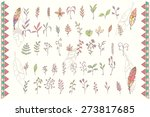 collection of hand drawn... | Shutterstock .eps vector #273817685