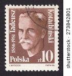 Small photo of POLAND - CIRCA 1986: stamp printed by Poland, shows Tadeusz Marian Kotarbinski-Polish philosopher and logician, a representative of the Lvov-Warsaw school, circa 1986