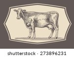 Cow In Graphical Style In The...