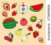 set of different fruits... | Shutterstock .eps vector #273899804