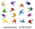 colorful origami paper swallow... | Shutterstock .eps vector #273912569