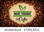 Small photo of Fair Trade graphic against coffee beans with oval indent for copy space