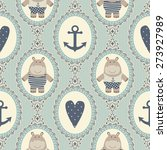 seamless pattern with hearts... | Shutterstock .eps vector #273927989