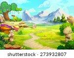 Stock photo rough path to the mountain scene design 273932807