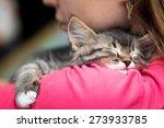 Stock photo portrait of a cute kitten sleeping on her shoulder 273933785