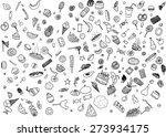 hand drawn black and white... | Shutterstock .eps vector #273934175