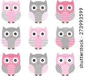 pink and grey cute owl... | Shutterstock .eps vector #273993599