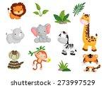Stock vector jungle animal vector set 273997529