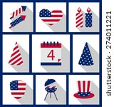 icons set usa flag color... | Shutterstock . vector #274011221