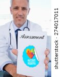 Small photo of The word assessment and portrait of a male doctor showing a blank prescription sheet against autism awareness month