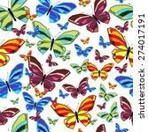 seamless pattern of butterflies.... | Shutterstock .eps vector #274017191