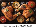 two grilled chicken legs and... | Shutterstock . vector #274027661