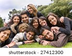 happy group of people lying on...   Shutterstock . vector #27412300
