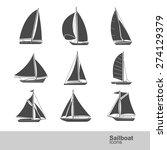 Sailboat Silhouette Icon Set ...