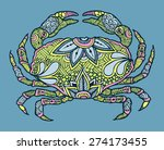 zentangle colourful vector crab | Shutterstock .eps vector #274173455