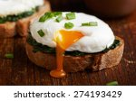 poached egg on a piece of bread ... | Shutterstock . vector #274193429