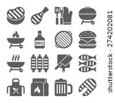 grill or barbecue icons | Shutterstock .eps vector #274202081