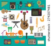 music background and icons ...   Shutterstock .eps vector #274207481