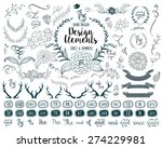 hand drawn vector floral design ... | Shutterstock .eps vector #274229981
