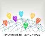 global social network between... | Shutterstock .eps vector #274274921