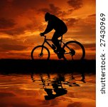 Mountain Biker Silhouette In...