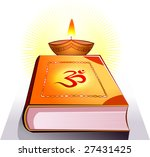 divine lamp and religious book  | Shutterstock .eps vector #27431425