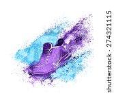 sneaker splash paint shoes run... | Shutterstock .eps vector #274321115
