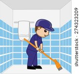 cartoon sweeper cleaning...