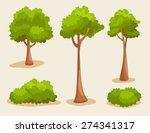 tree set   vector illustration | Shutterstock .eps vector #274341317