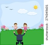 cute kids playing in garden   Shutterstock .eps vector #274345601