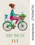 enjoy your life. card  with... | Shutterstock .eps vector #274346741
