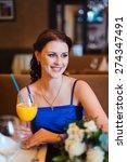 young beautiful smiling girl in ... | Shutterstock . vector #274347491