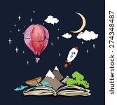 imagination concept   open book ... | Shutterstock .eps vector #274348487