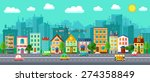 city street in a flat design... | Shutterstock .eps vector #274358849