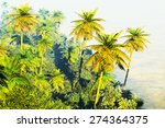 beautiful rainforest with palm... | Shutterstock . vector #274364375