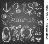 summer set  on the blackboard.... | Shutterstock .eps vector #274374089
