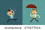 businessman run from the rain... | Shutterstock .eps vector #274377014