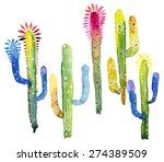watercolor cactus set.  3   Shutterstock . vector #274389509