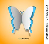 vector papercut butterfly  blue ... | Shutterstock .eps vector #274391615