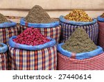 Spices at the market in the souk of Marrakesh, Morocco - stock photo
