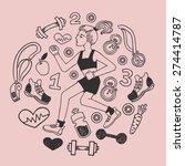 love run girl pink vector icons ... | Shutterstock .eps vector #274414787